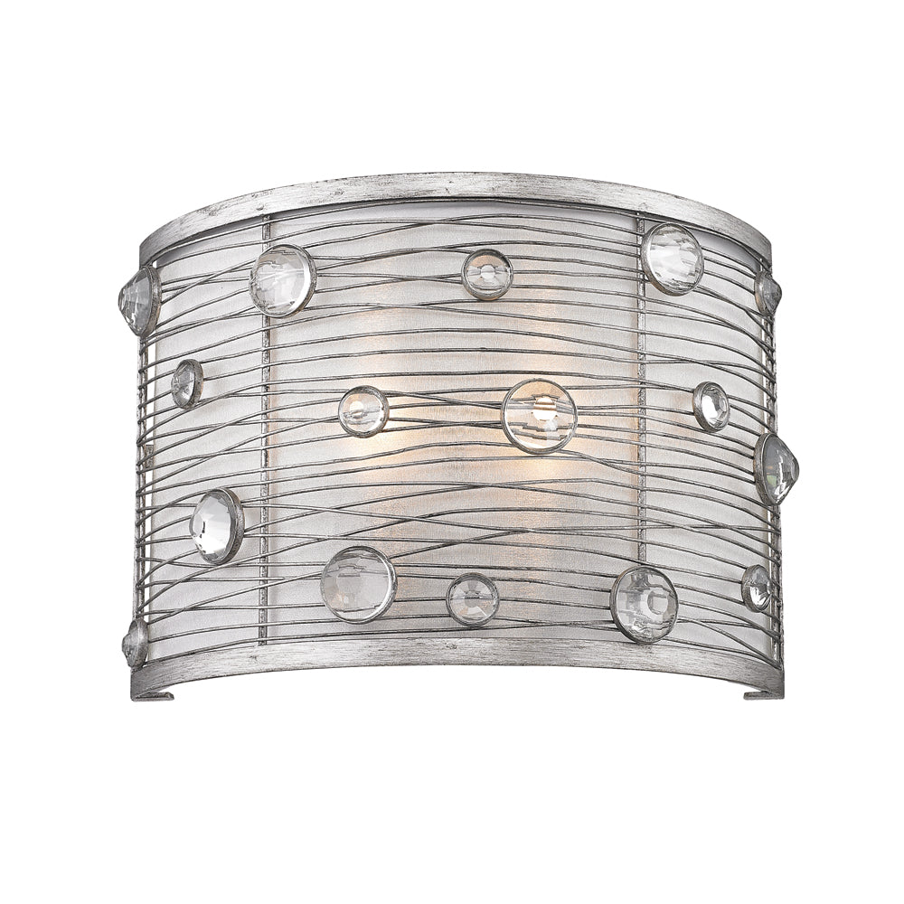 Joia 1 Light Wall Sconce in Peruvian Silver with Sterling Mist Shade, Lighting, Laura of Pembroke