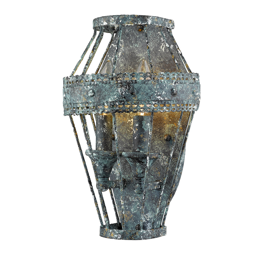 Ferris 1 Light Wall Sconce in Blue Verde Patina, Lighting, Laura of Pembroke