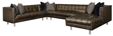 Tufted Leather Sectional Retail- $4,758.00 Sale- $2,120.00
