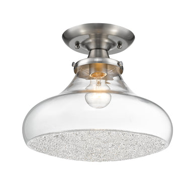 Asha Large Semi Flush in Pewter with Crushed Crystal Glass
