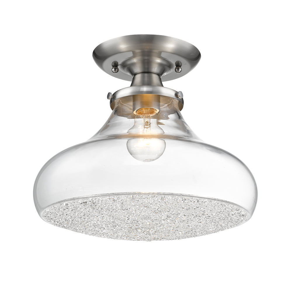 Asha Large Semi Flush in Pewter with Crushed Crystal Glass, Lighting, Laura of Pembroke