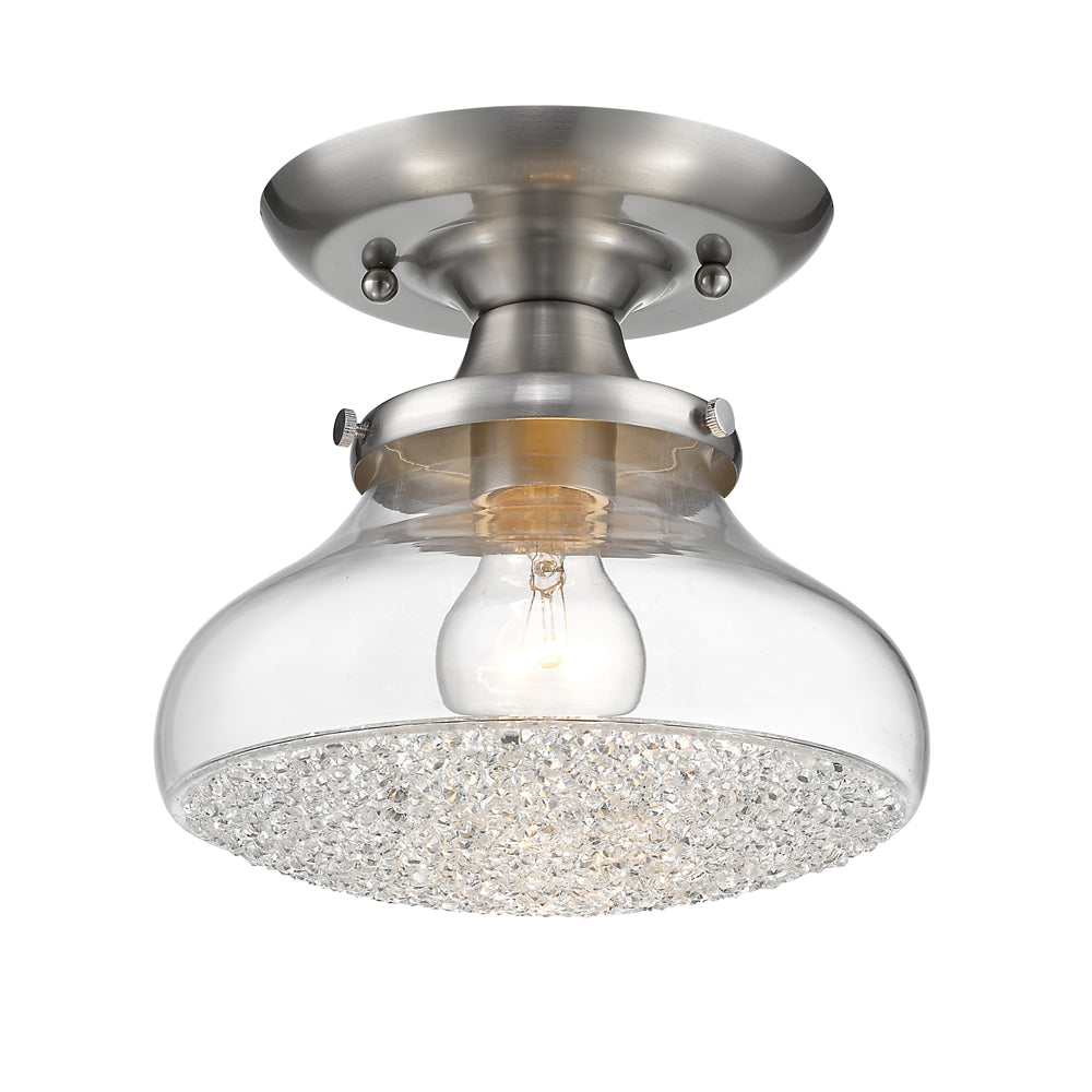 Asha Small Semi Flush in Pewter with Crushed Crystal Glass, Lighting, Laura of Pembroke
