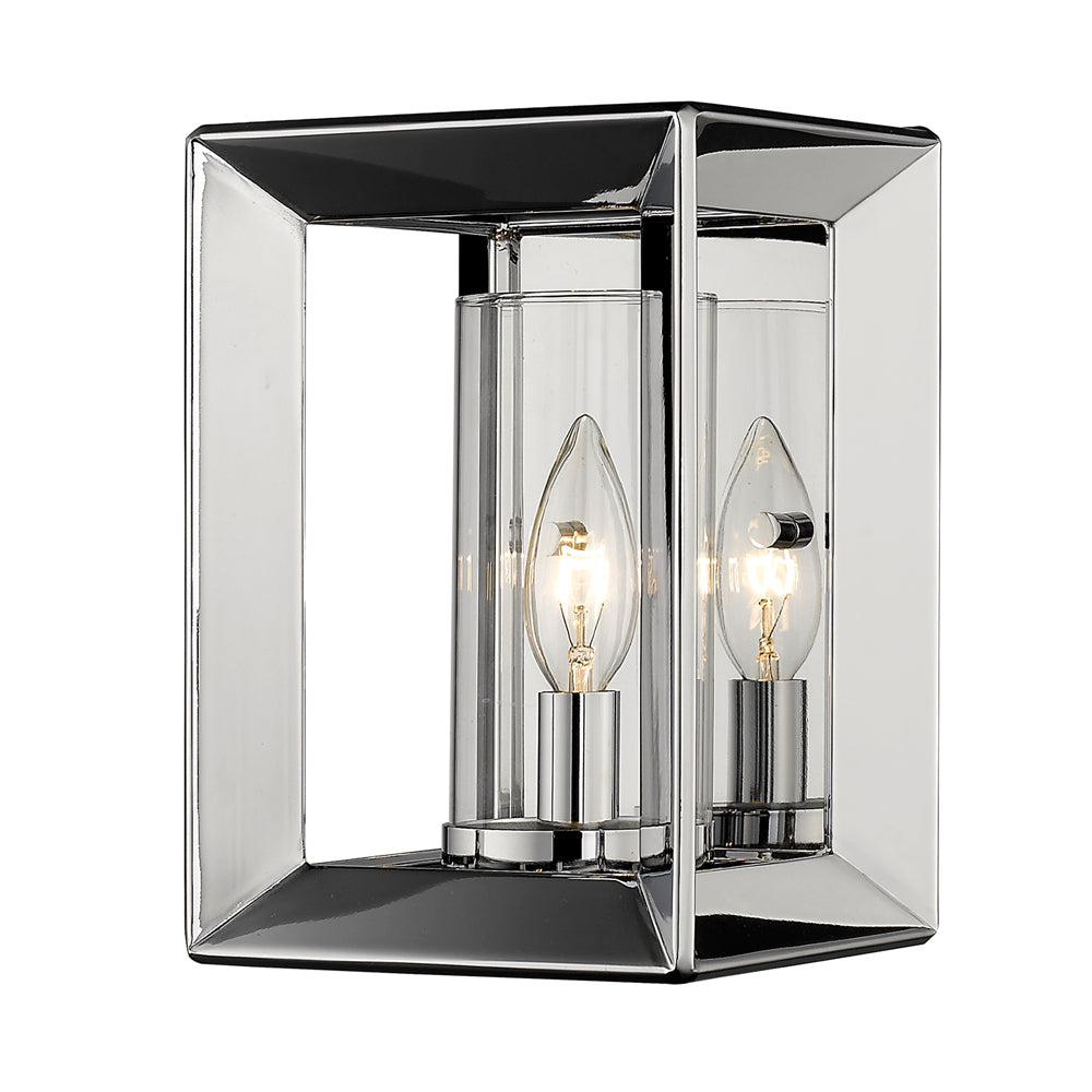 Smyth 1 Light Wall Sconce in Chrome with Clear Glass, Lighting, Laura of Pembroke