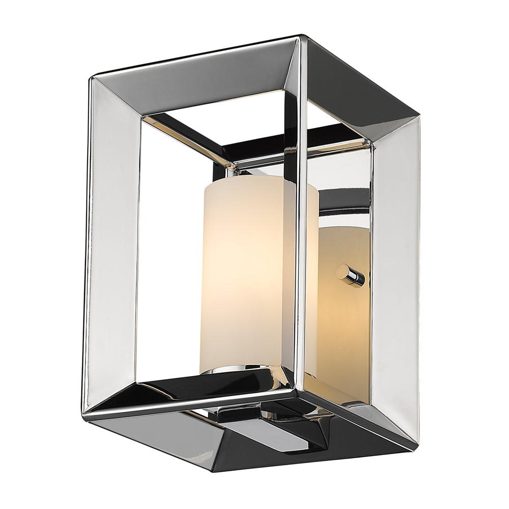 Smyth 1 Light Wall Sconce in Chrome with Opal Glass, Lighting, Laura of Pembroke
