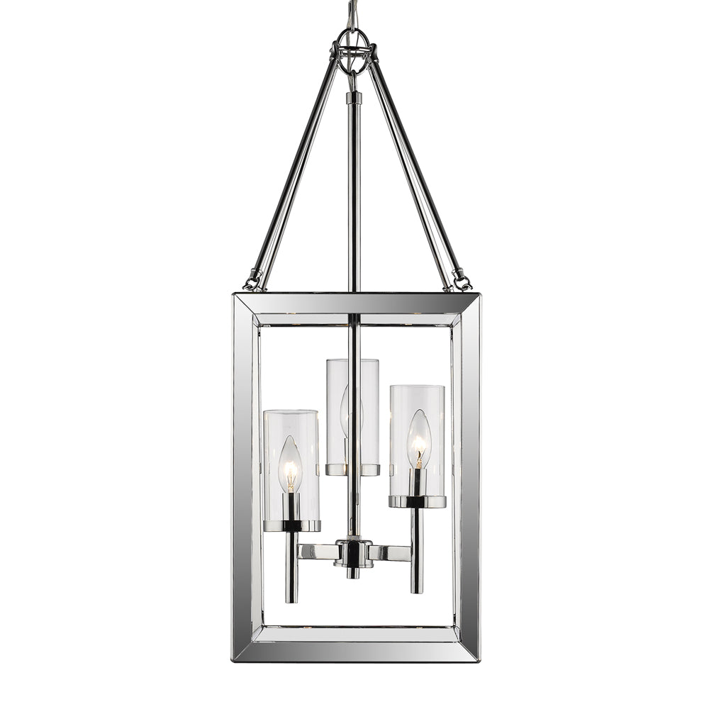 Smyth 3 Light Pendant in Chrome with Clear Glass, Lighting, Laura of Pembroke