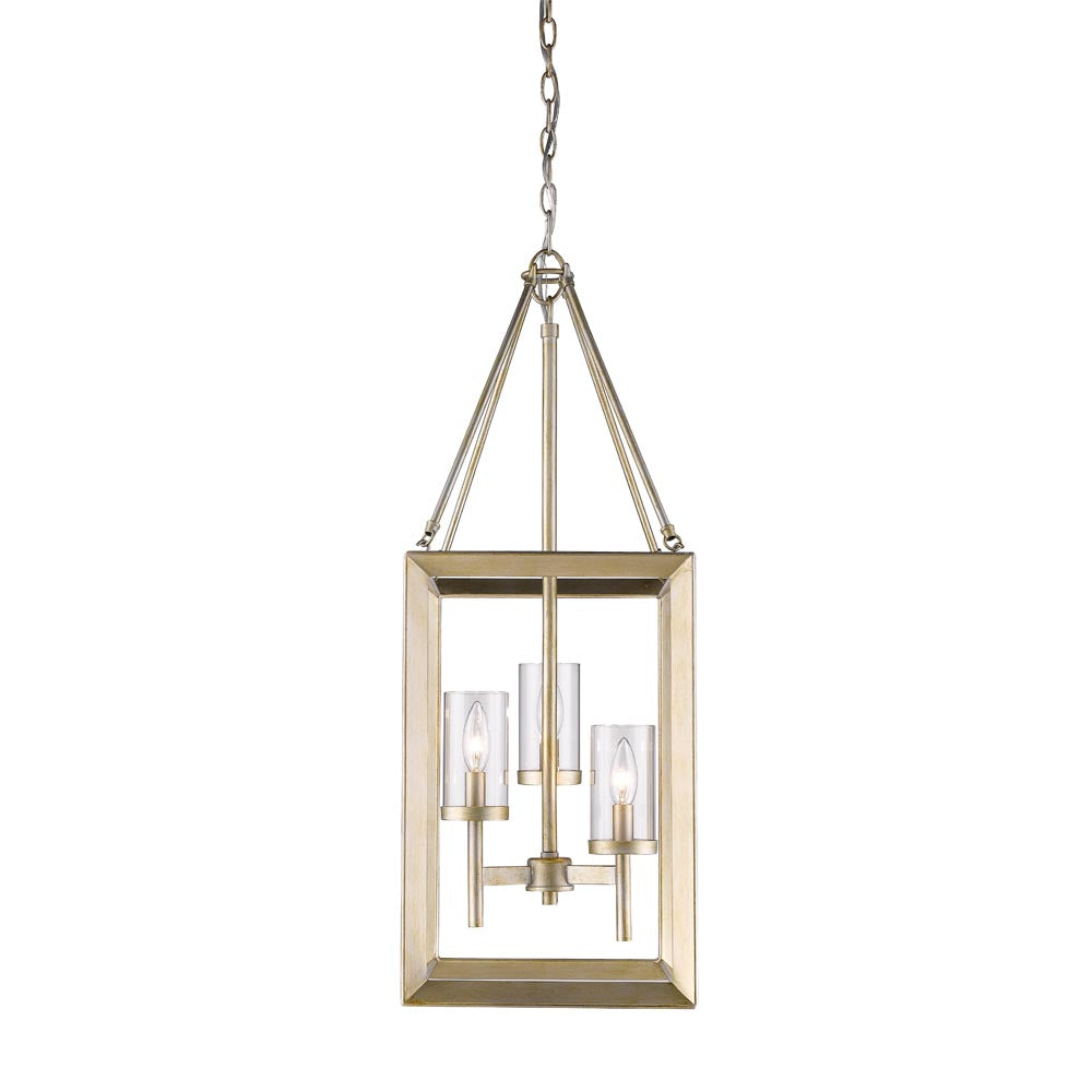 Smyth 3 Light Pendant in White Gold with Clear Glass, Lighting, Laura of Pembroke