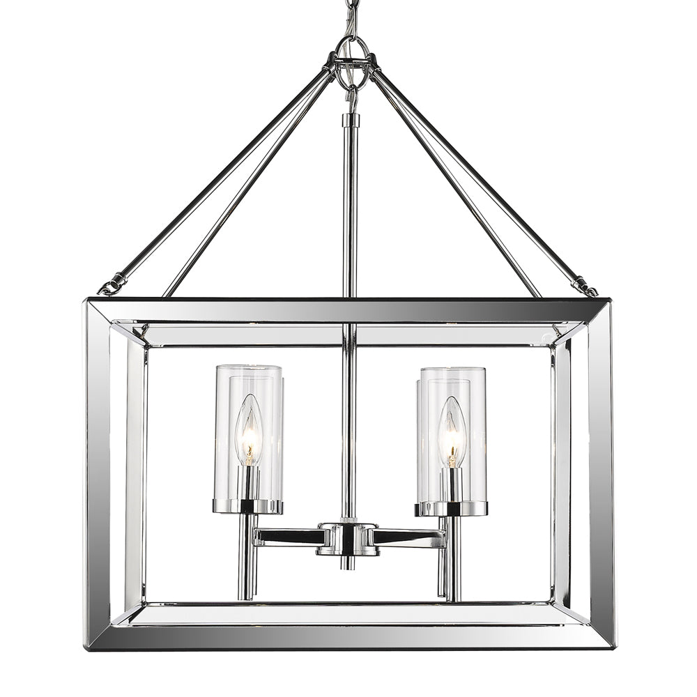 Smyth 4 Light Chandelier in Chrome with Clear Glass, Lighting, Laura of Pembroke