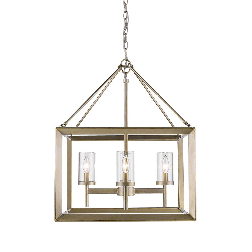 Smyth 4 Light Chandelier in White Gold with Clear Glass, Lighting, Laura of Pembroke