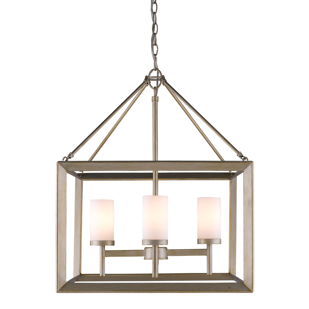 Smyth 4 Light Chandelier in White Gold with Opal Glass, Lighting, Laura of Pembroke