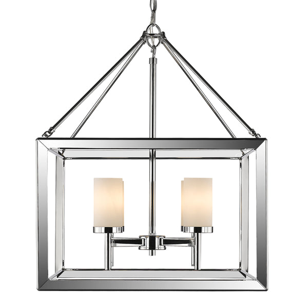 Smyth 4 Light Chandelier in Chrome with Opal Glass