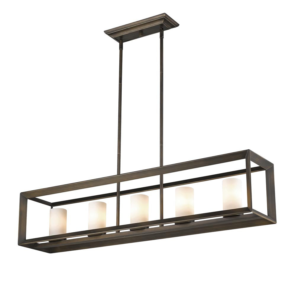 Smyth 5 Light Linear Pendant in Gunmetal Bronze with Opal Glass, Lighting, Laura of Pembroke