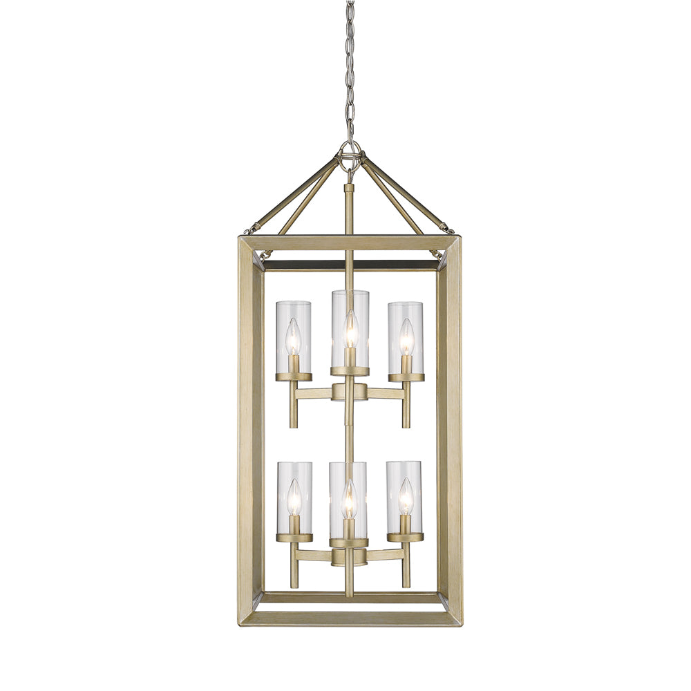 Smyth 6 Light Pendant in White Gold with Clear Glass, Lighting, Laura of Pembroke