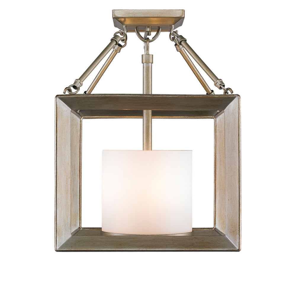Smyth Convertible Semi-Flush in White Gold with Opal Glass, Lighting, Laura of Pembroke