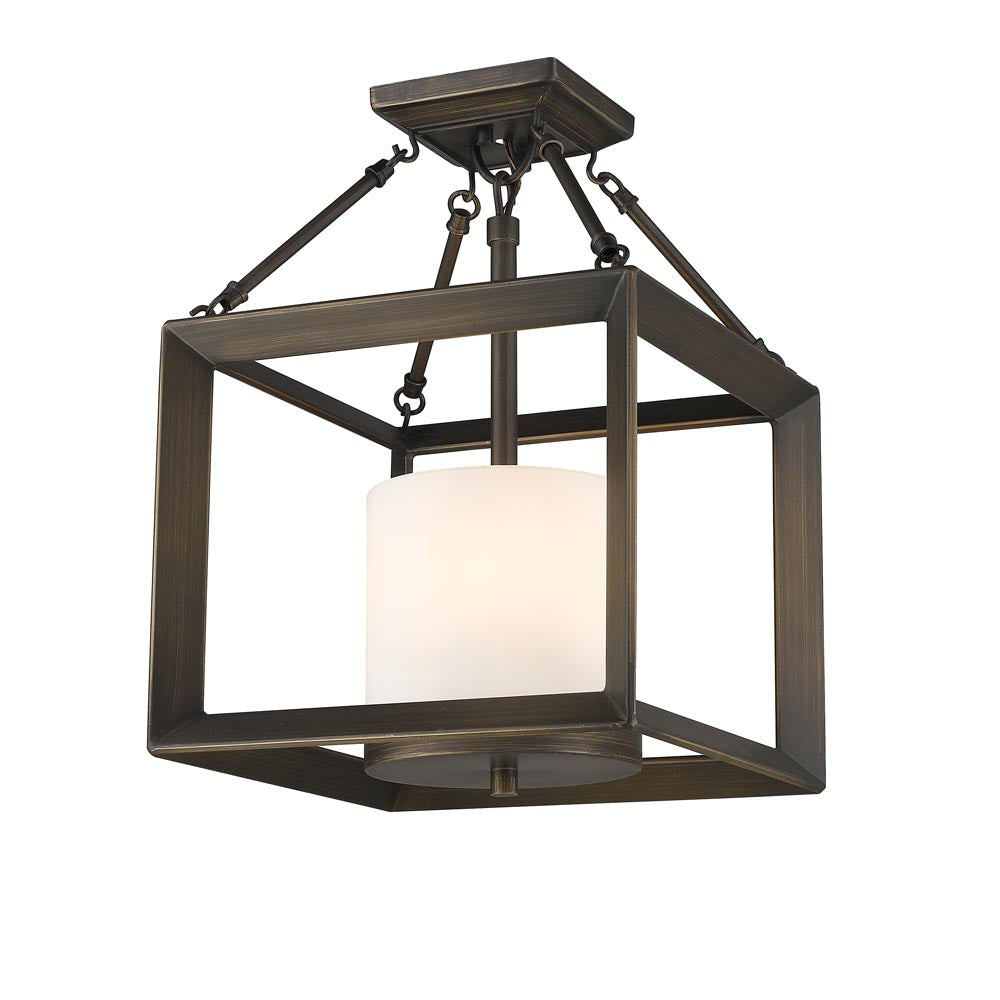 Smyth Convertible Semi-Flush in Gunmetal Bronze with Opal Glass, Lighting, Laura of Pembroke