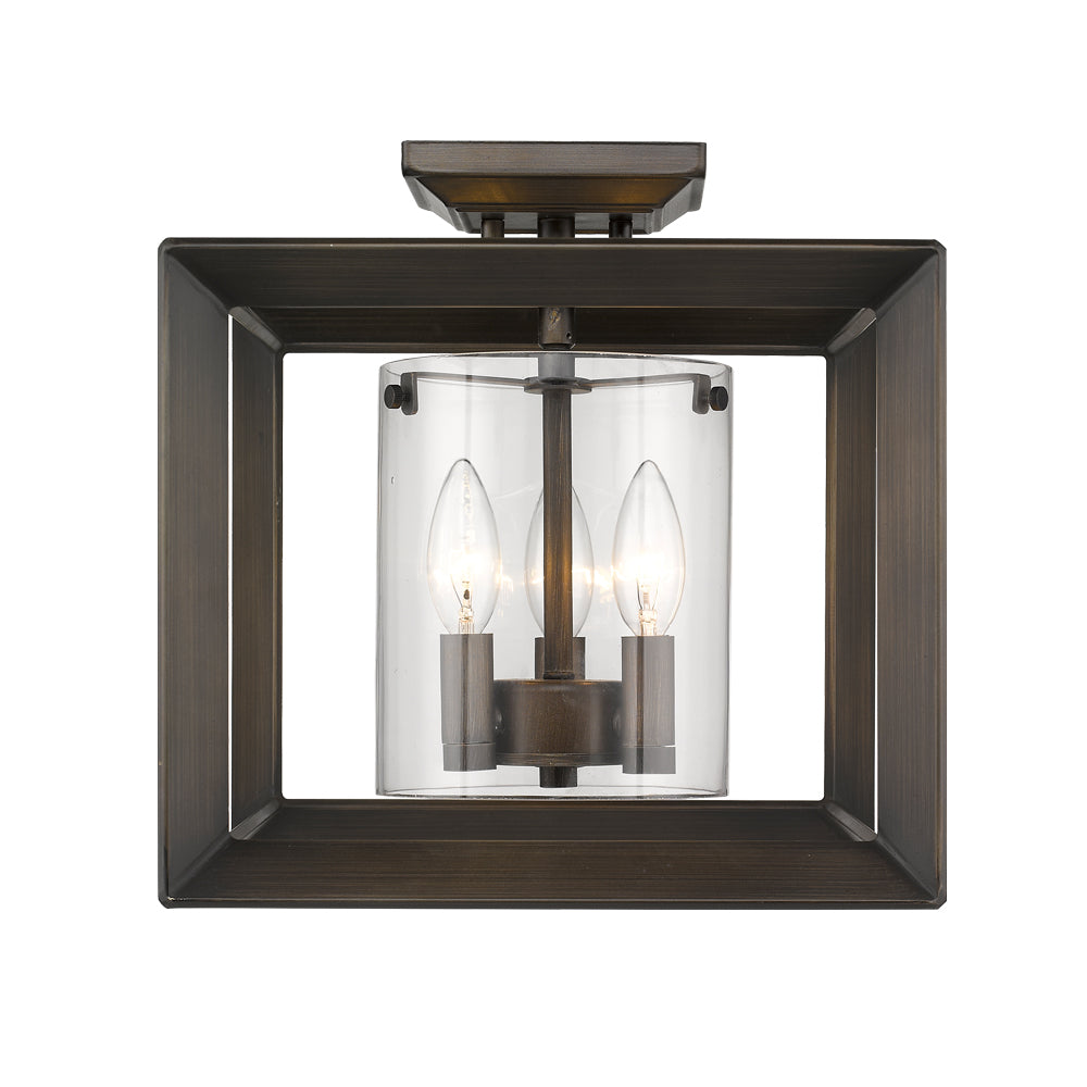 Smyth Semi-Flush (Low Profile) in Gunmetal Bronze with Clear Glass, Lighting, Laura of Pembroke