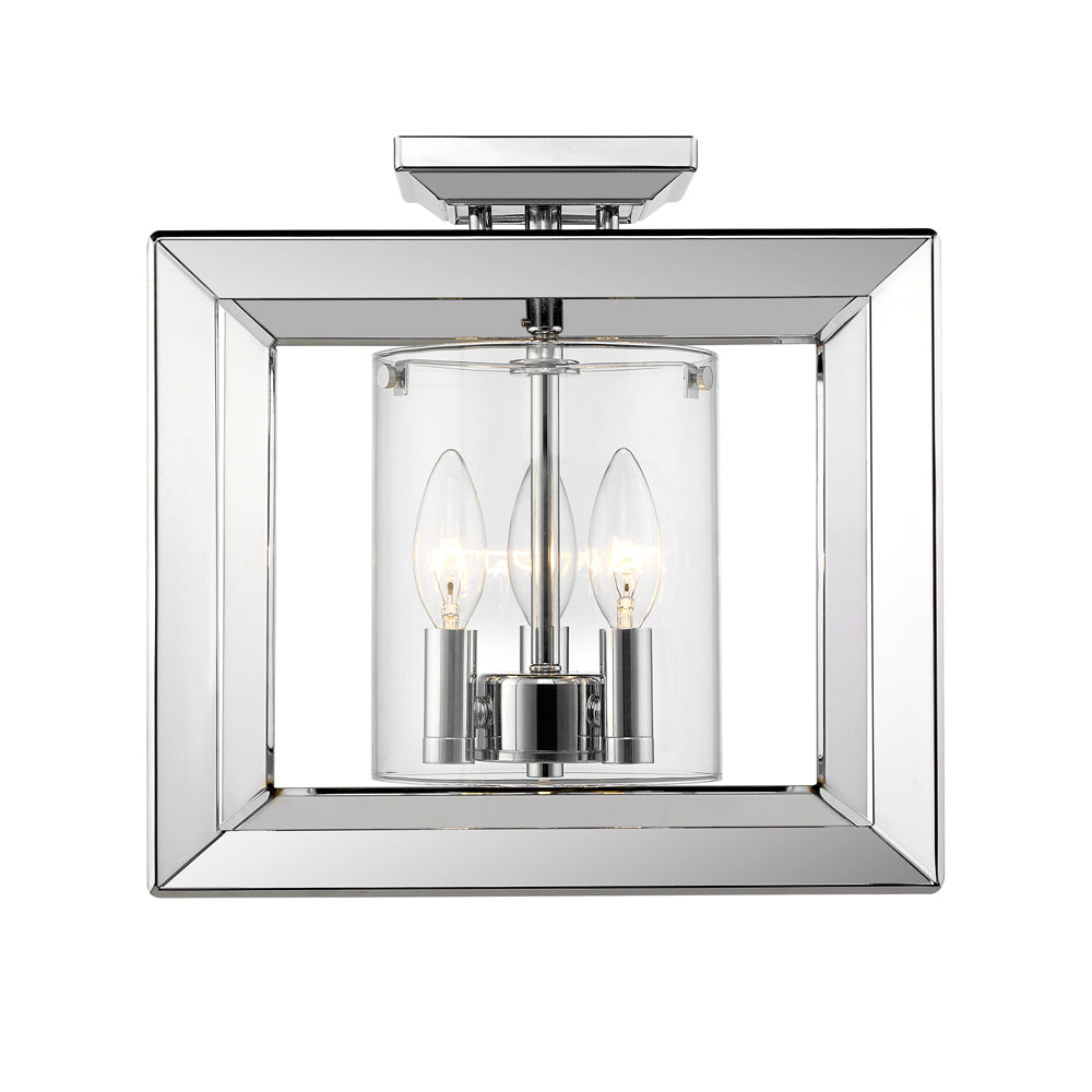 Smyth Semi-Flush (Low Profile) in Chrome with Clear Glass, Lighting, Laura of Pembroke