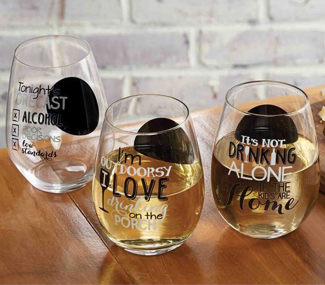 Stemless Wine Glass, Gifts, Mud Pie, Laura of Pembroke