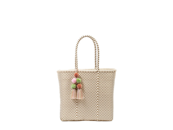Open Medium Tote - Bone / Gold