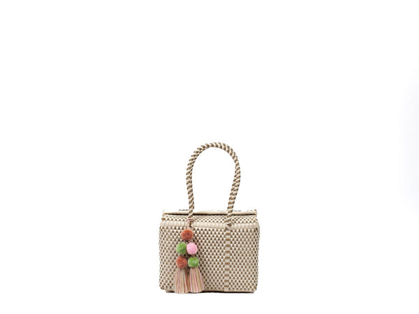 Mini Bombon Tote - Bone / Gold