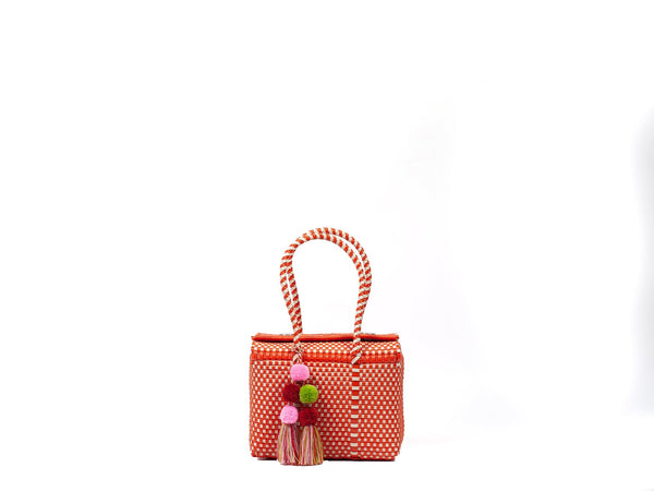 Mini Bombon Tote - Orange / Bone