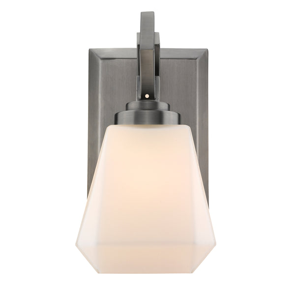 Hollis 1 Light Bath Vanity in Aged Steel with Opal Glass