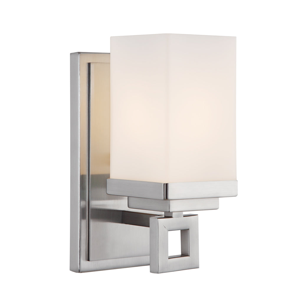 Nelio 1 Light Bath Vanity in Pewter with Cased Opal Glass, Lighting, Laura of Pembroke