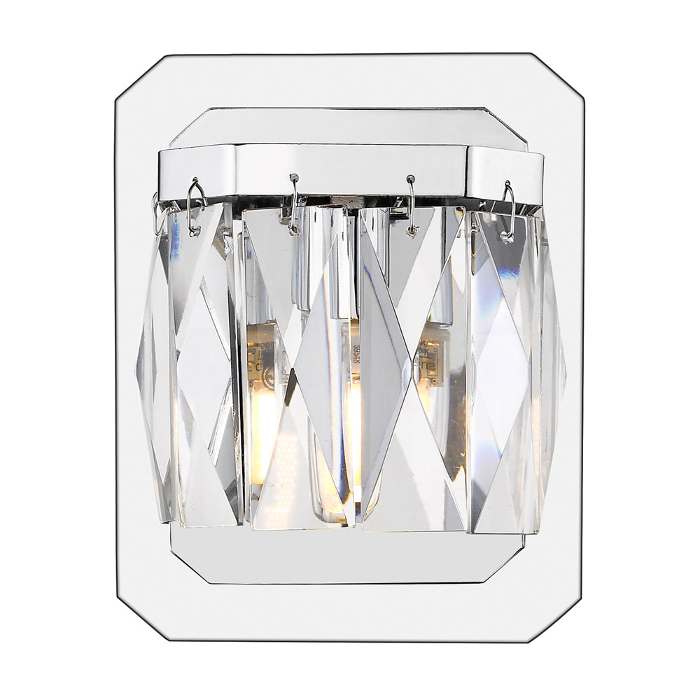 Krysta 1 Light Bath Vanity in Chrome with Faceted Crystal Glass, Lighting, Laura of Pembroke