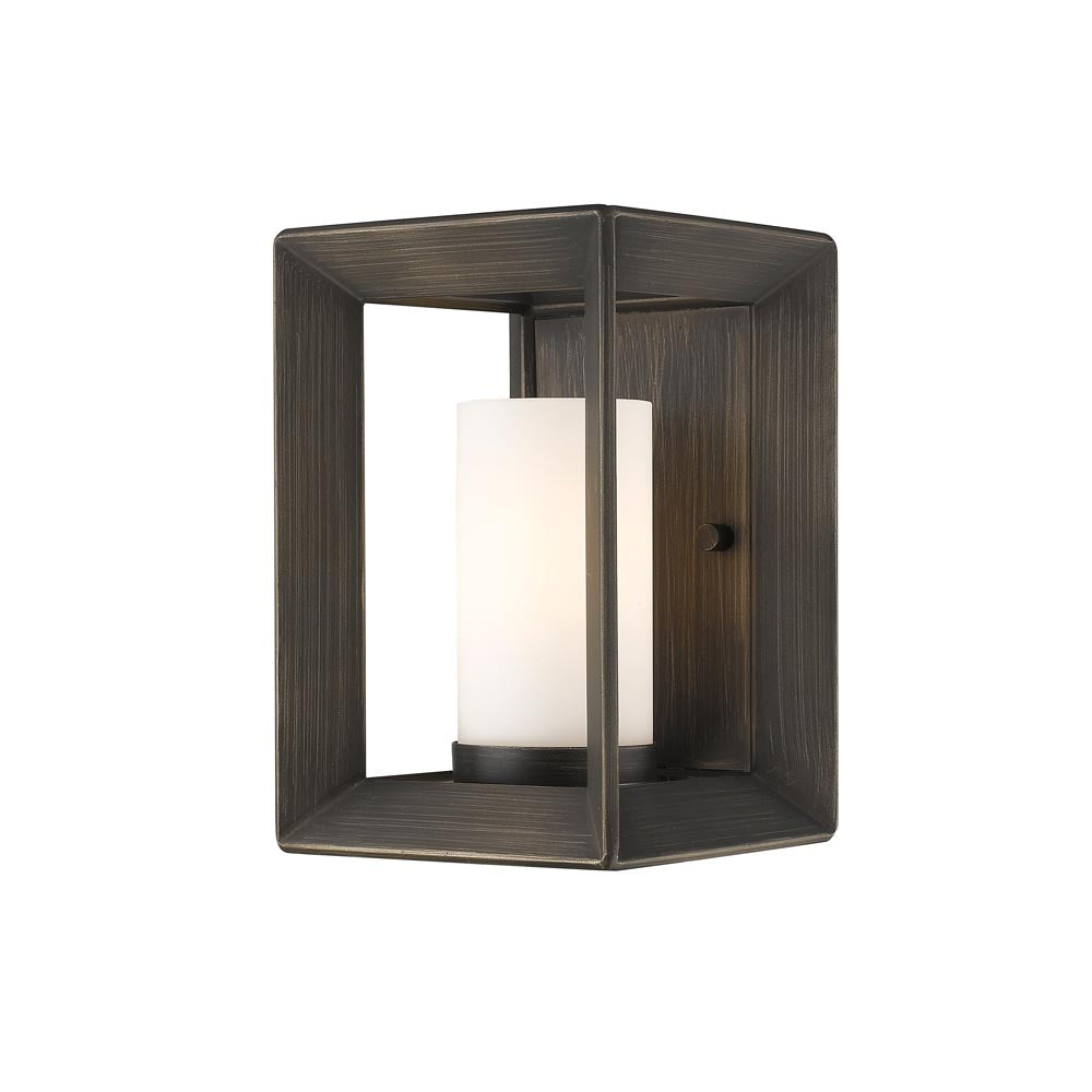 Smyth 1 Light Wall Sconce in Gunmetal Bronze with Opal Glass, Lighting, Laura of Pembroke