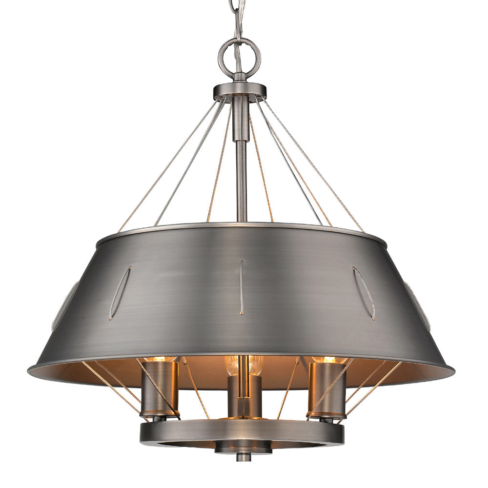 Whitaker 3 Light Pendant in Aged Steel, Lighting, Laura of Pembroke