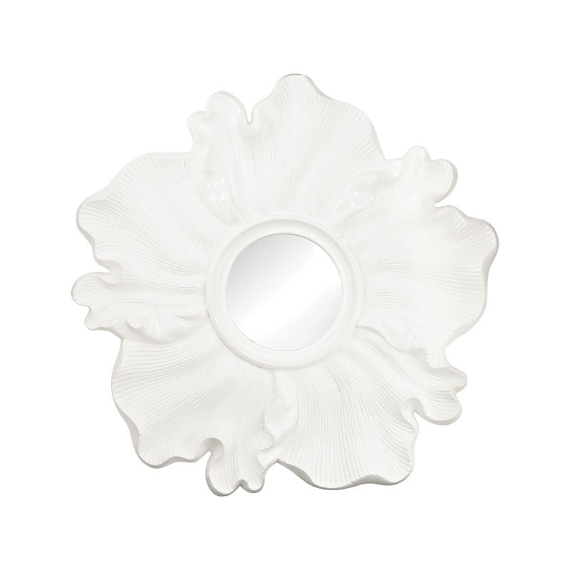Gloss White Flower Mirror