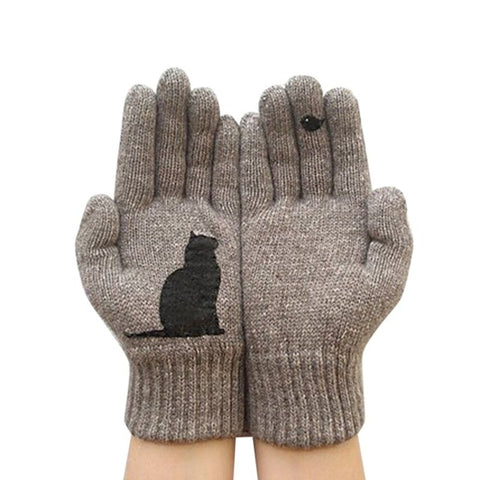 KStyles Cashmere Gloves with Cartoon Cat Print Unisex