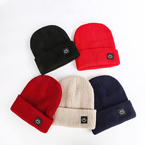 KStyle Classic Wool Knitted Caps with Square Smiling Face Unisex