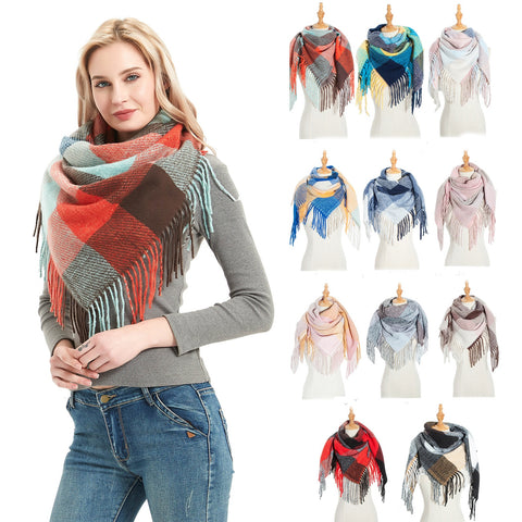 KStyles Women Knitted Plaid Scarves for Spring & Winter