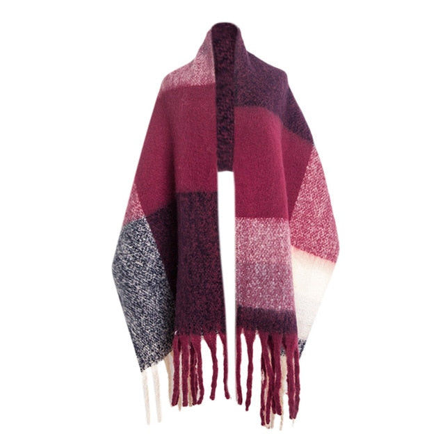 KStyle Women Classic Cashmere Plaid Scarf for Autumn & Winter