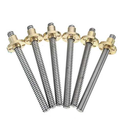 3D Printer T8 1/2/4/8/12/14mm 600mm Lead Screw 8mm Thread With Copper Nut For Stepper Motor