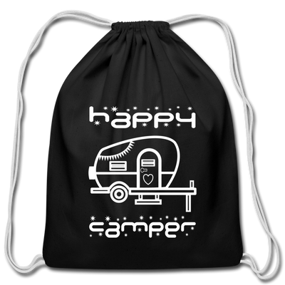 Happy Camper Cotton Drawstring Bag - black