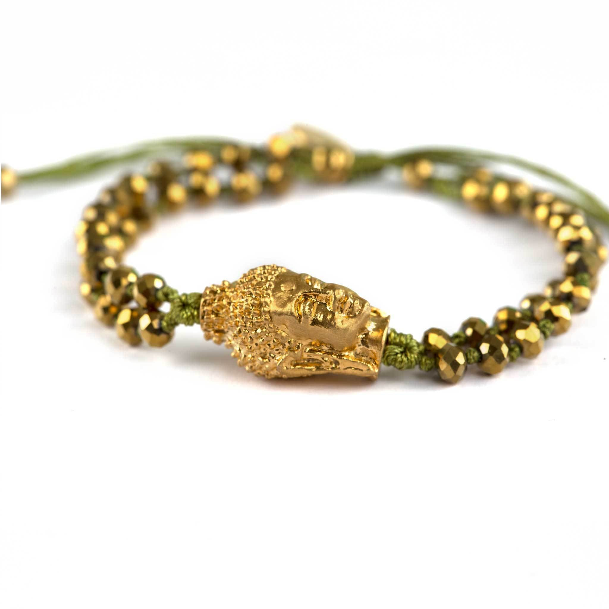 Buddha armbånd - Green/Gold fra Farmhousedesign.no