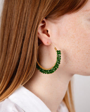 Glam Loop øreringer - Forrest green fra Farmhousedesign.no