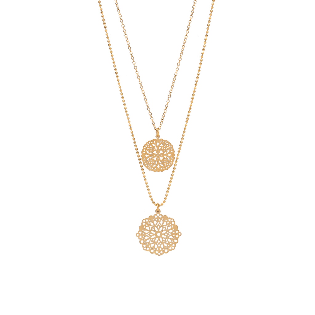 Signature filigree double halskjede - Matt gold