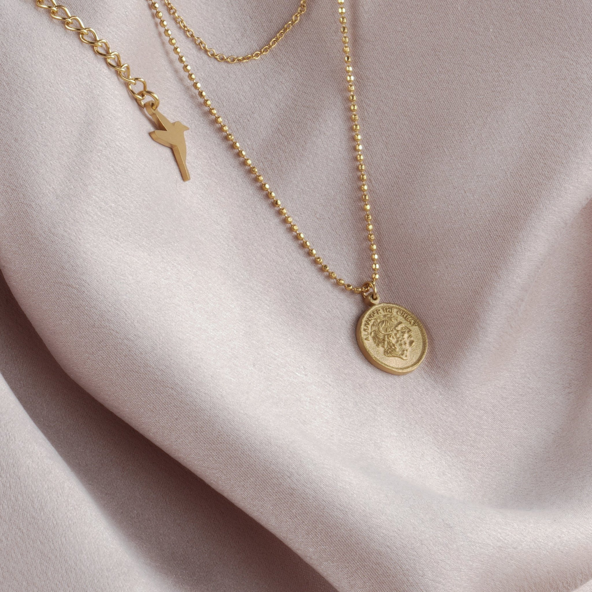 Alexander the great coin double chain necklace