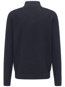 Fynch Hatton - 1/2 Zip Navy Textured Knitwear
