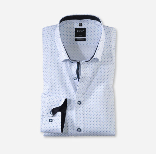 OLYMP Luxor, Modern Fit, Under Button-down, White with blue pattern - Tector Menswear