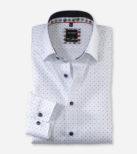 OLYMP - Luxor Modern Fit, Under Button-Down, White with Print
