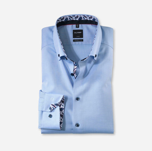 OLYMP -  Luxor Modern Fit Blue with Pattern Inset - Tector Menswear