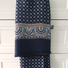 Load image into Gallery viewer, Italian Silk Scarf Navy Blue Pattern