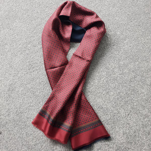 Italian Silk Scarf Wine Navy Pattern