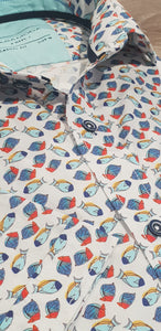 Casa Moda -  Colourful Fish, Short Sleeve Shirt (Size XL only)