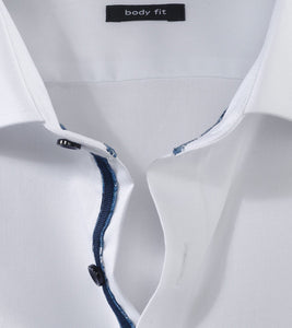 OLYMP -  Body Fit, White Navy Buttons and Trim