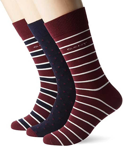 GANT - 3 Pack Mixed Socks in Wine and Navy - Tector Menswear