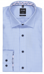 Olymp - Luxor, Modern Fit, Blue shirt with floral inset
